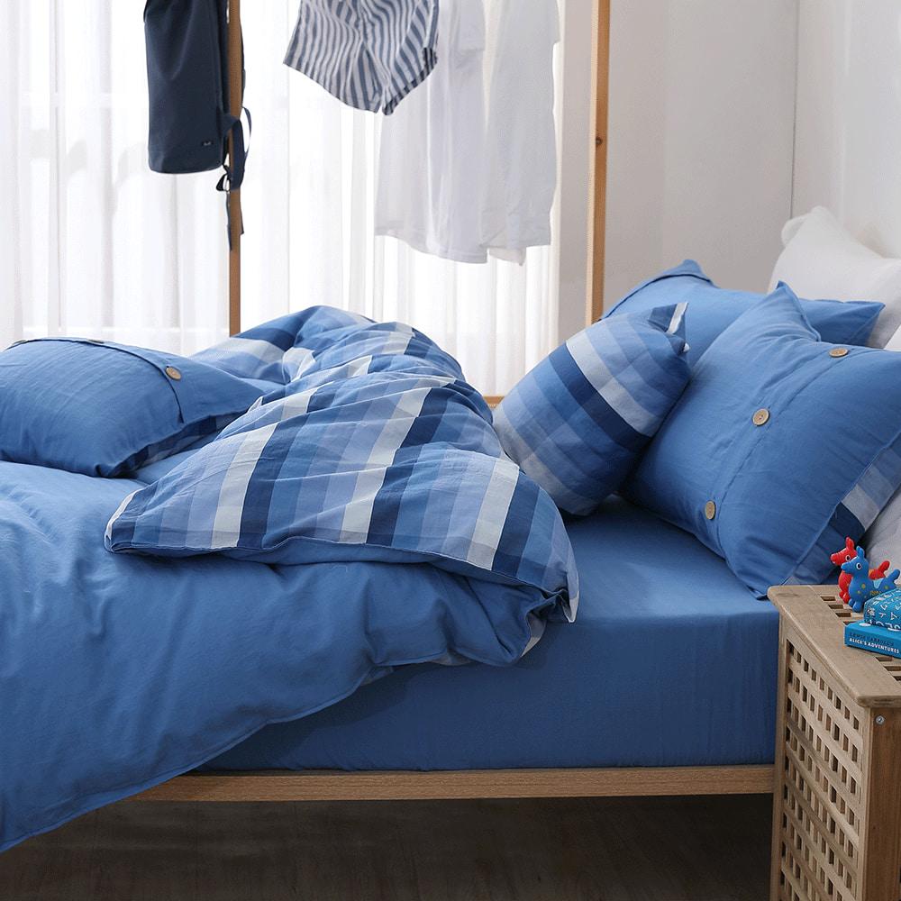 好關係 HAOKUANXI|悠遊海洋-天然色織棉床包被套枕套組-標準雙人
