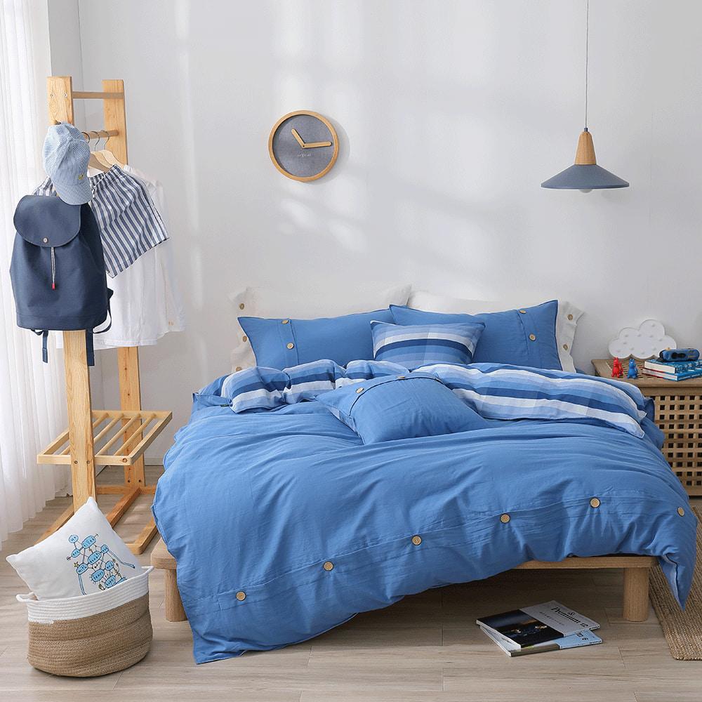 好關係 HAOKUANXI 悠遊海洋-天然色織棉床包被套枕套組-雙人加大