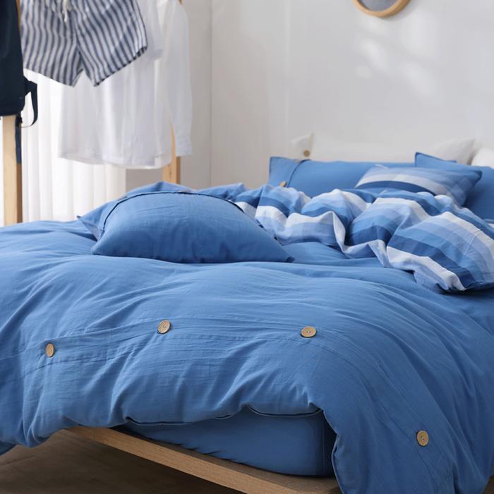 好關係 HAOKUANXI   悠遊海洋-天然色織棉床包被套枕套組-標準雙人