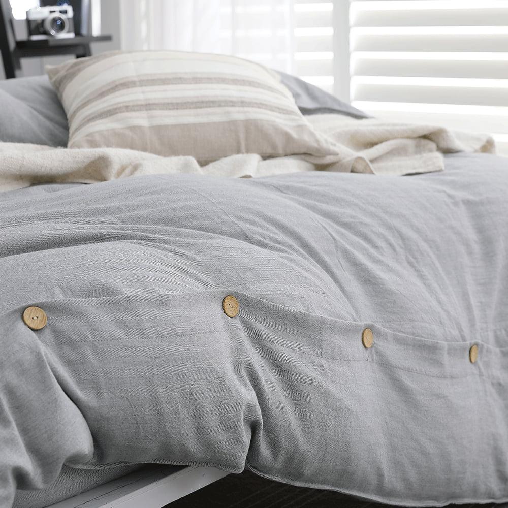 好關係 HAOKUANXI|擁抱晨霧-天然色織棉床包被套枕套組-標準雙人