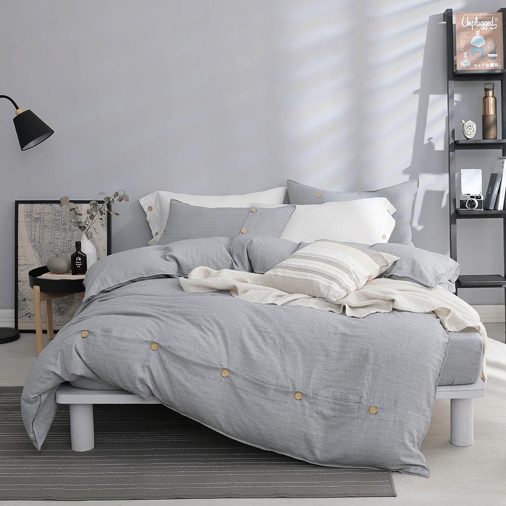好關係 HAOKUANXI|擁抱晨霧-天然色織棉床包被套枕套組-雙人加大