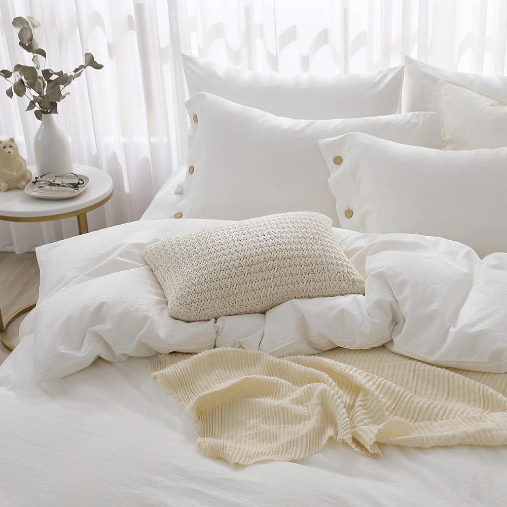好關係 HAOKUANXI|初曉晨曦-天然色織棉床包被套枕套組-雙人加大