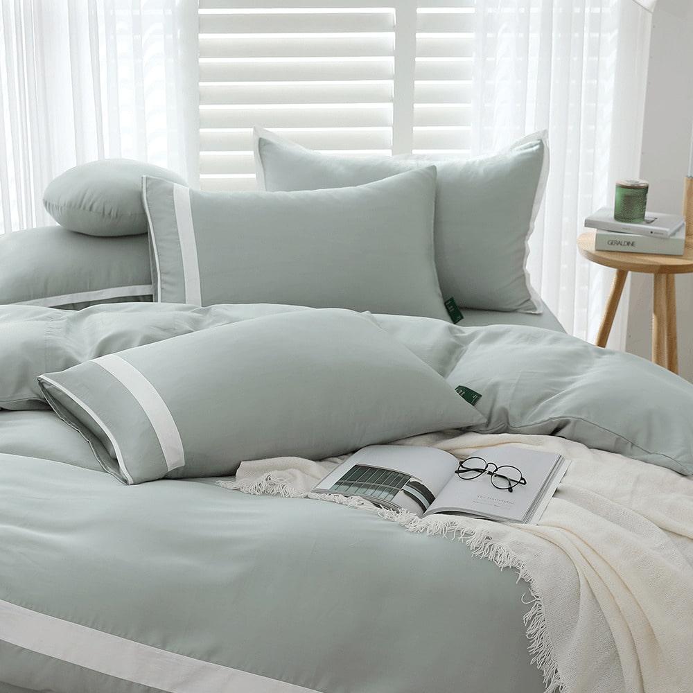 好關係 HAOKUANXI 春日石綠-萊賽爾天絲床包被套枕套組-標準雙人