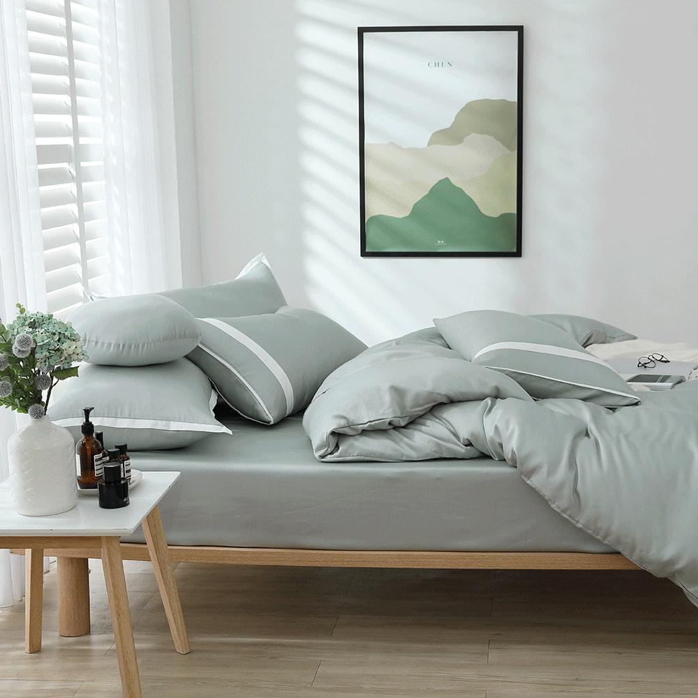 好關係 HAOKUANXI 春日石綠-萊賽爾天絲床包被套枕套組-雙人加大