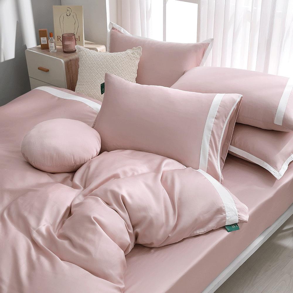 好關係 HAOKUANXI|夏日藕粉-萊賽爾天絲床包被套枕套組-標準雙人