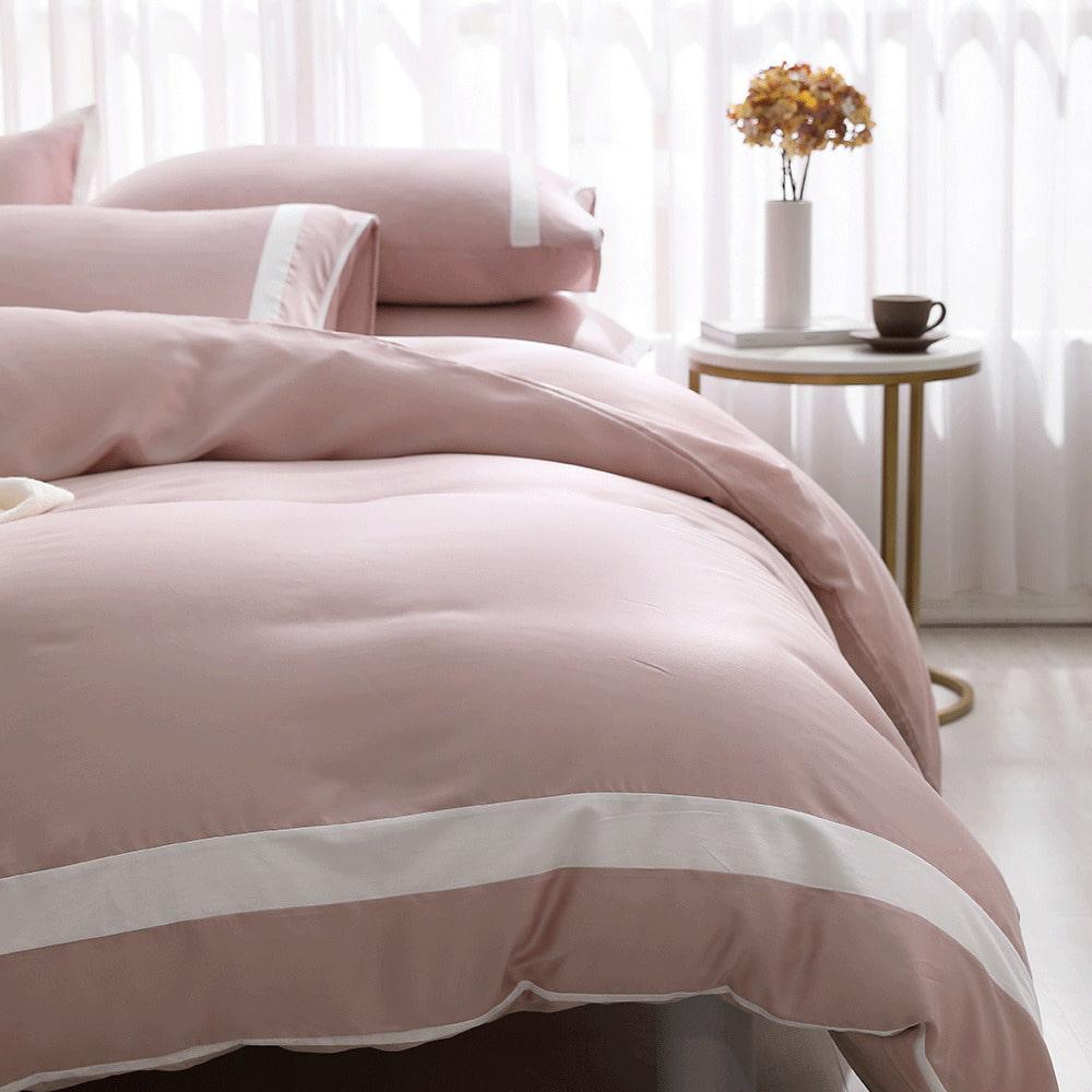 好關係 HAOKUANXI|夏日藕粉-萊賽爾天絲床包被套枕套組-雙人加大
