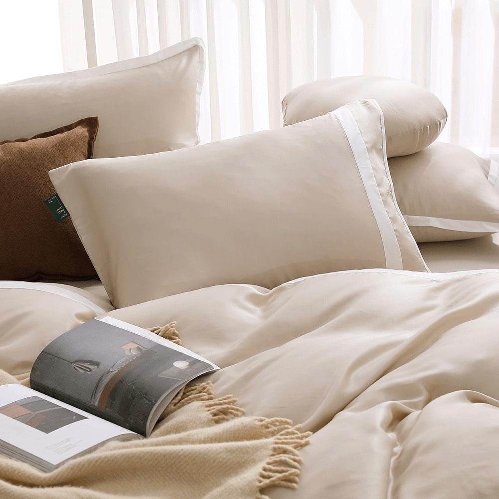 好關係 HAOKUANXI|秋日淺茶-萊賽爾天絲床包被套枕套組-雙人加大