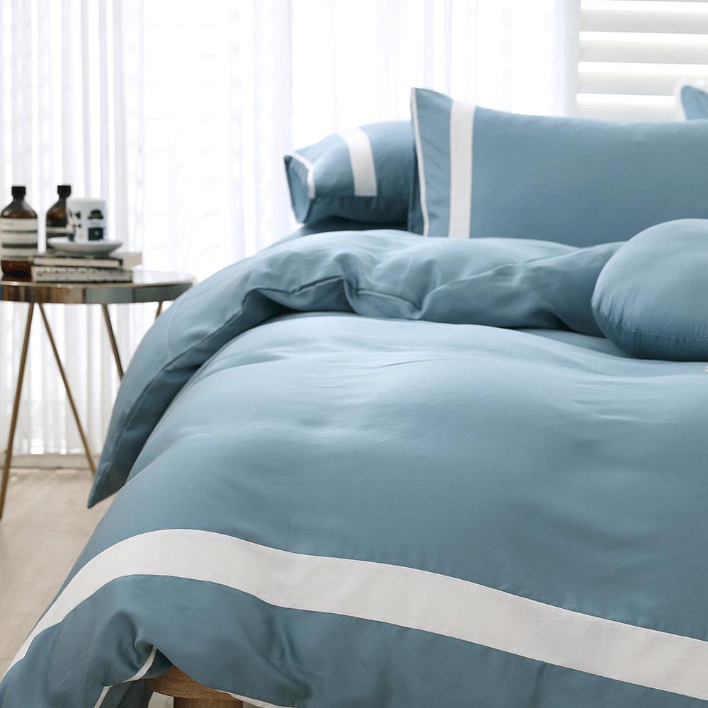 好關係 HAOKUANXI 冬日冰藍-萊賽爾天絲床包被套枕套組-標準雙人