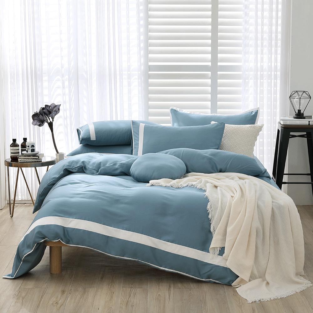 好關係 HAOKUANXI 冬日冰藍-萊賽爾天絲床包被套枕套組-雙人加大