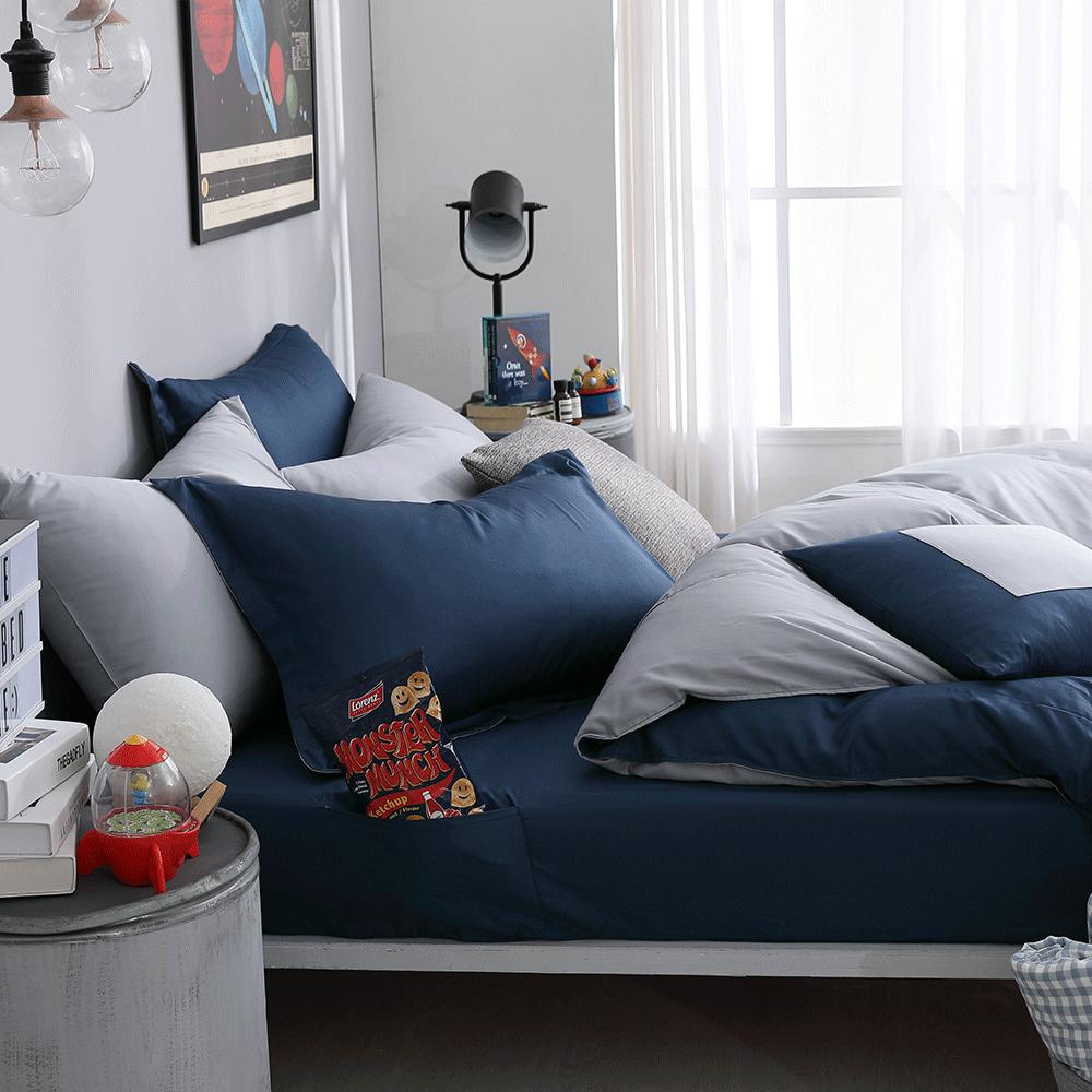 好關係 HAOKUANXI 銀河夜空-新天絲棉床邊口袋床包被套枕套組-標準雙人