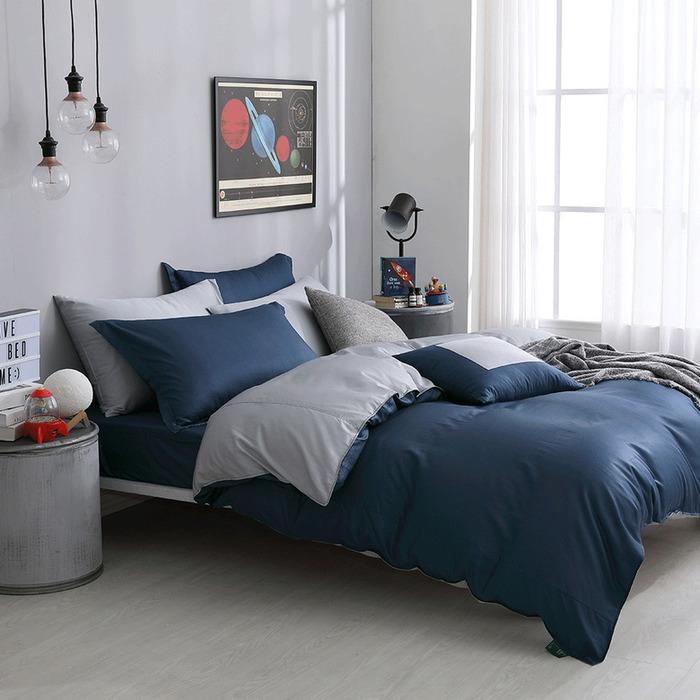 (複製)好關係 HAOKUANXI | 冬日冰藍-萊賽爾天絲床包被套枕套組-標準雙人