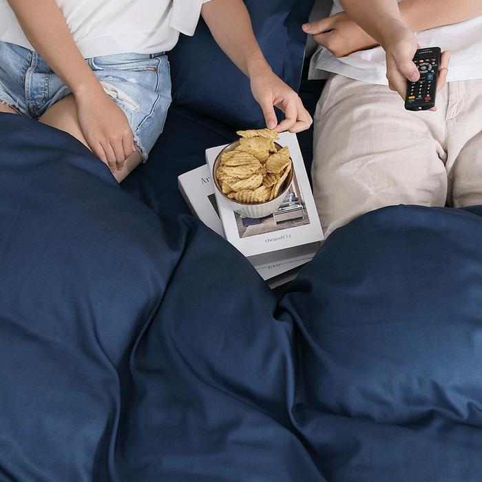 (複製)好關係 HAOKUANXI   冬日冰藍-萊賽爾天絲床包被套枕套組-標準雙人