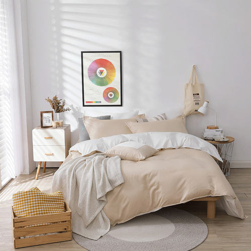 好關係 HAOKUANXI|珍珠奶茶-新天絲棉床邊口袋床包被套枕套組-標準雙人
