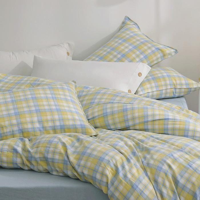 (複製)好關係 HAOKUANXI|沐浴朝陽- 天然色織棉床包被套枕套組-標準雙人
