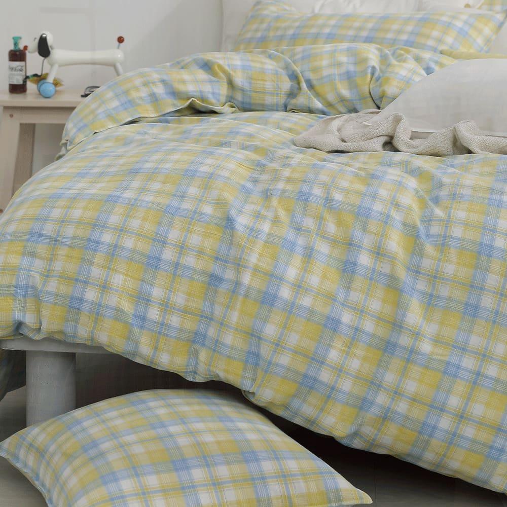 好關係 HAOKUANXI|檸檬美式-天然色織棉床包被套枕套組-標準雙人