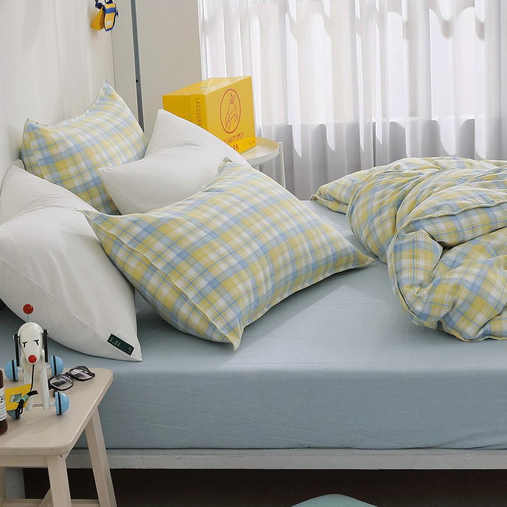 好關係 HAOKUANXI 檸檬美式-天然色織棉床包被套枕套組-雙人加大