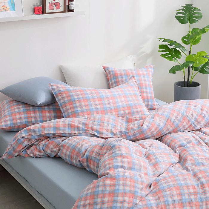 (複製)好關係 HAOKUANXI   檸檬美式-天然色織棉床包被套枕套組-標準雙人