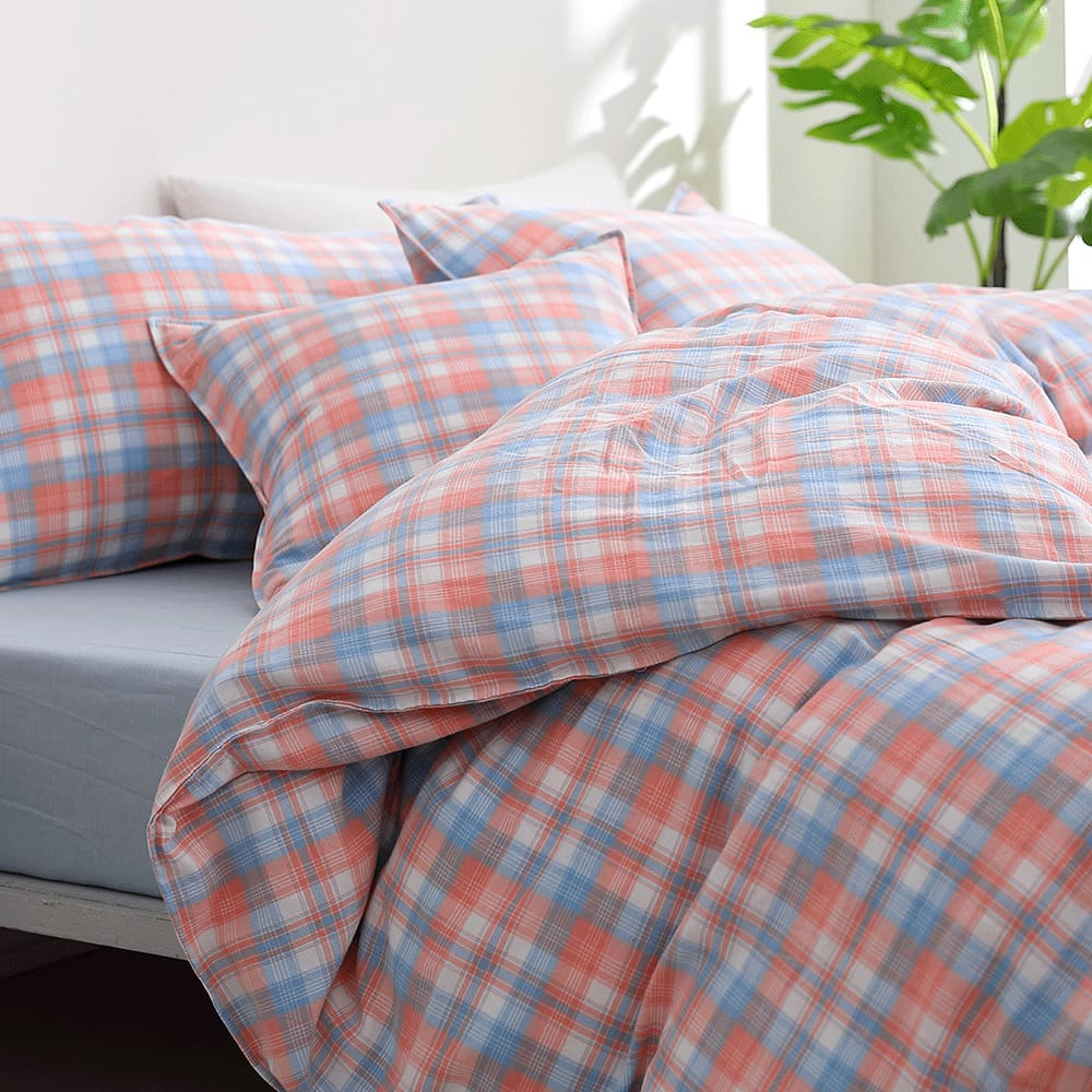 好關係 HAOKUANXI|蜜桃牛奶-天然色織棉床包被套枕套組-雙人加大