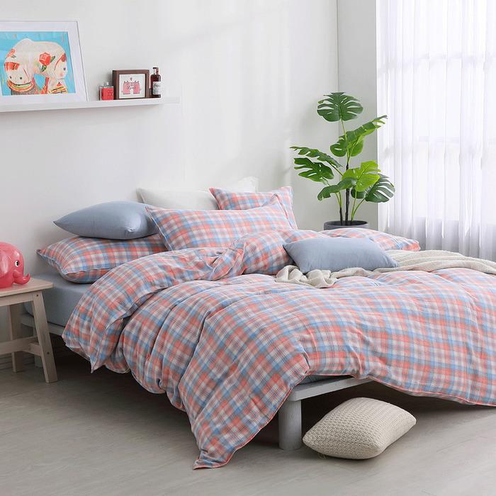 (複製)好關係 HAOKUANXI | 檸檬美式-天然色織棉床包被套枕套組-標準雙人