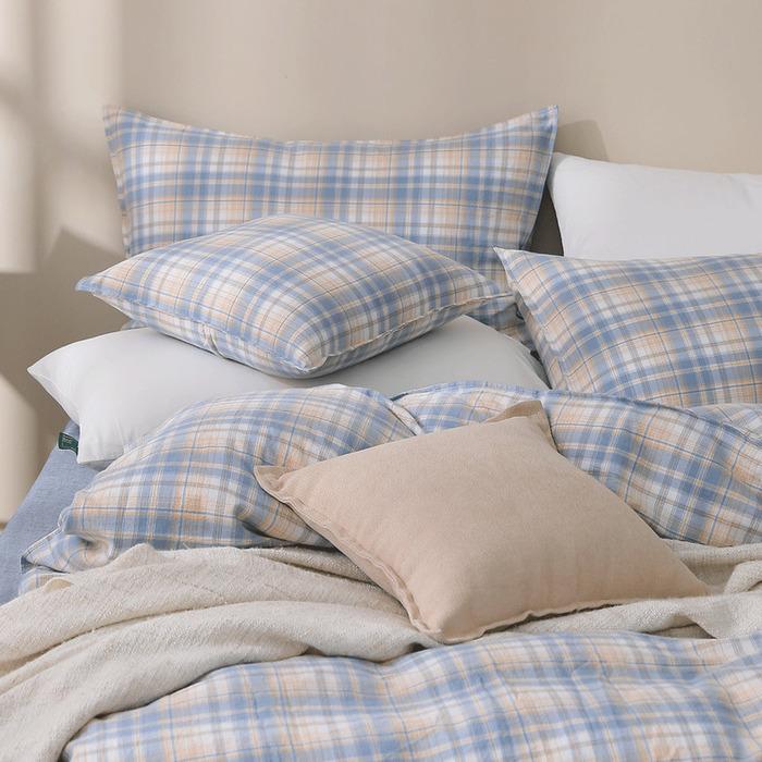 (複製)好關係 HAOKUANXI   蜜桃牛奶-天然色織棉床包被套枕套組-標準雙人