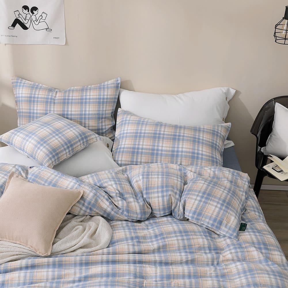好關係 HAOKUANXI 蜂蜜威士忌-天然色織棉床包被套枕套組-標準雙人