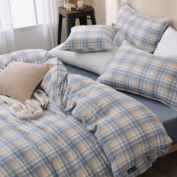 (複製)好關係 HAOKUANXI | 蜜桃牛奶-天然色織棉床包被套枕套組-標準雙人