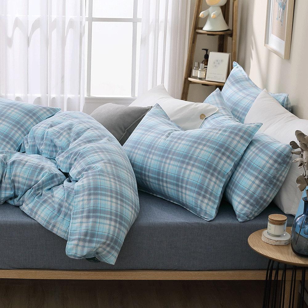 好關係 HAOKUANXI|冰淇淋蘇打-天然色織棉床包被套枕套組-標準雙人