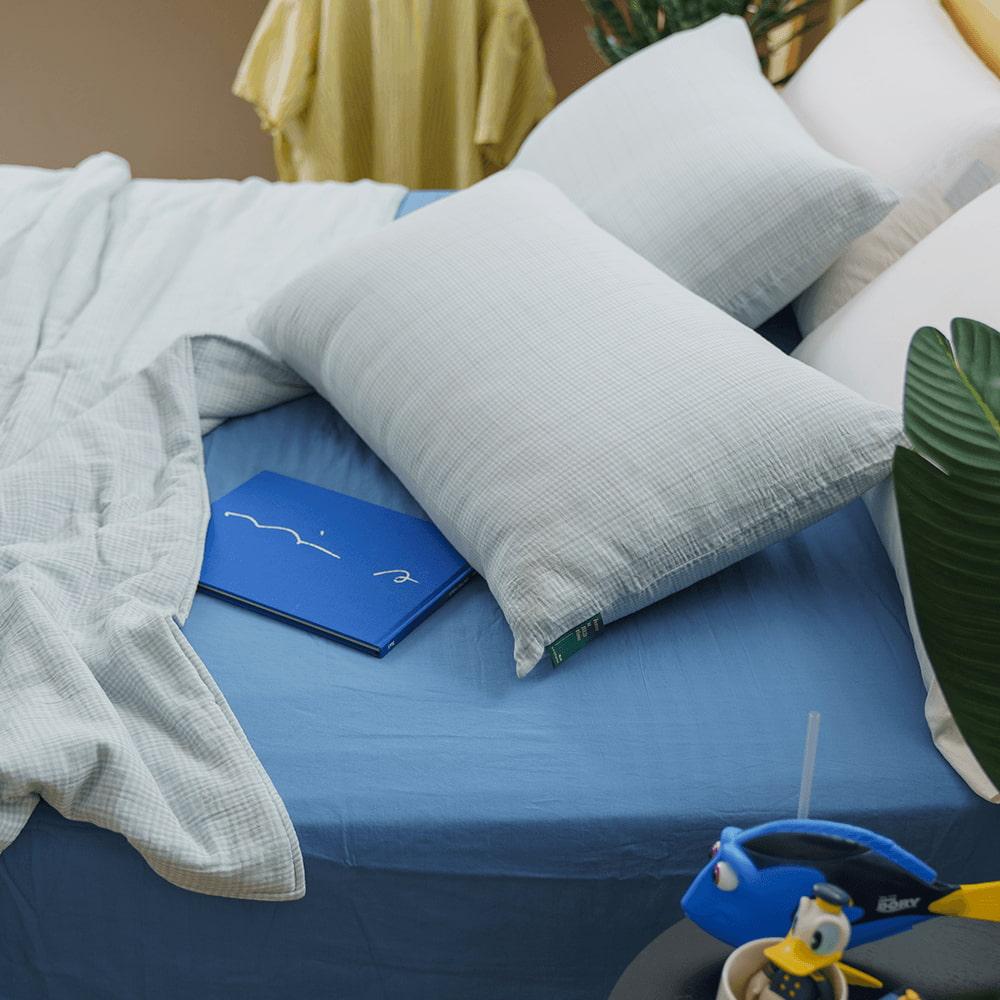 好關係 HAOKUANXI 盛夏海藍格-二重紗透氣枕套