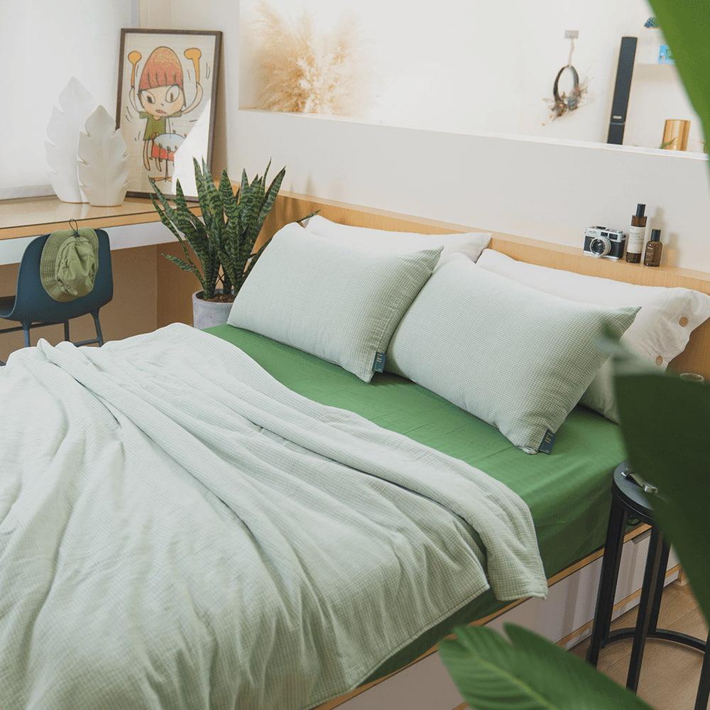 好關係 HAOKUANXI|仲夏山綠格-二重紗透氣枕套