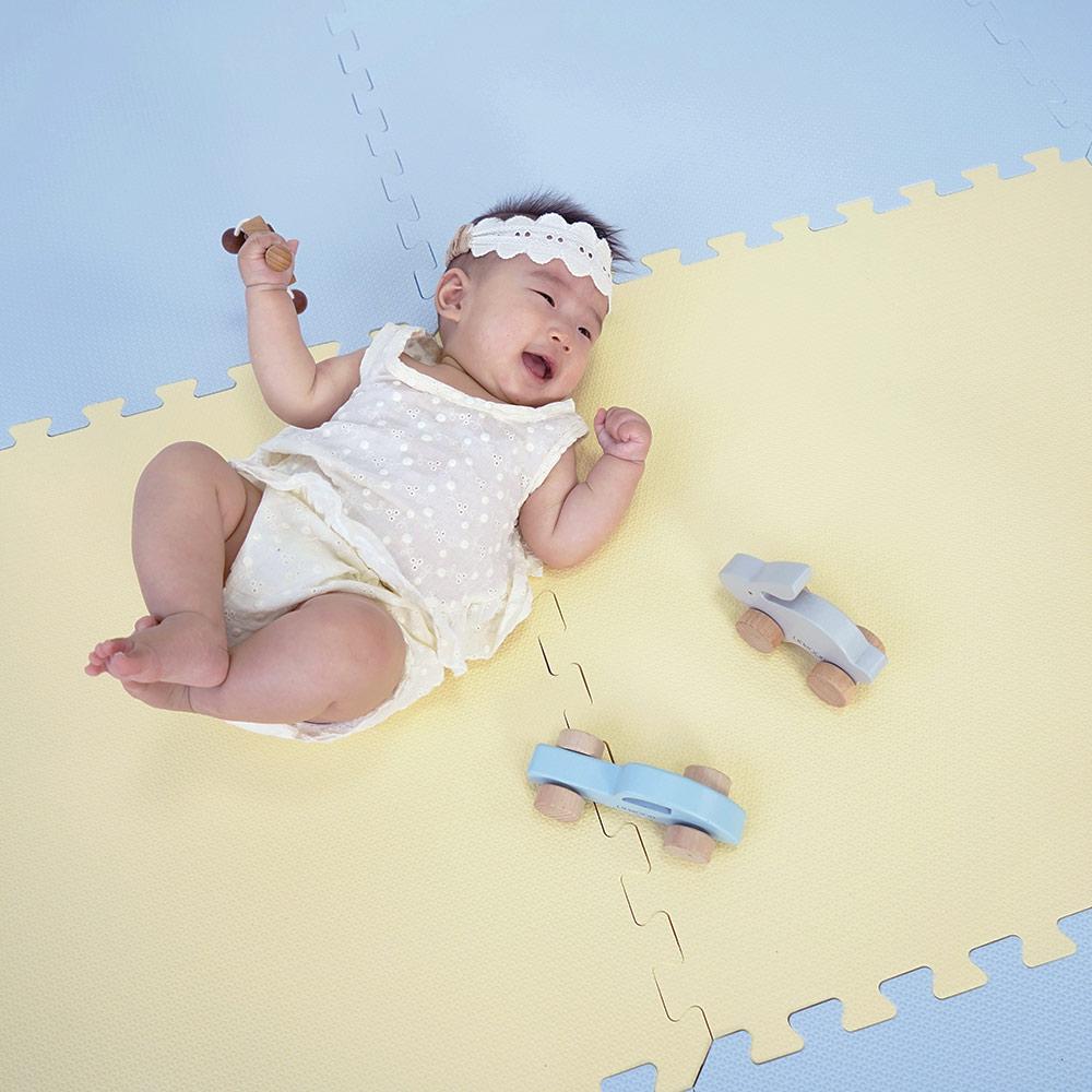 PatoPato|嬰幼兒專用馬卡龍60x60x2cm雙色地墊 - 鵝黃&灰藍 - 1包6片裝