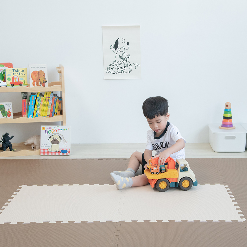 PatoPato 嬰幼兒專用馬卡龍60x60x2cm雙色地墊 - 可可&奶茶 - 1包6片裝