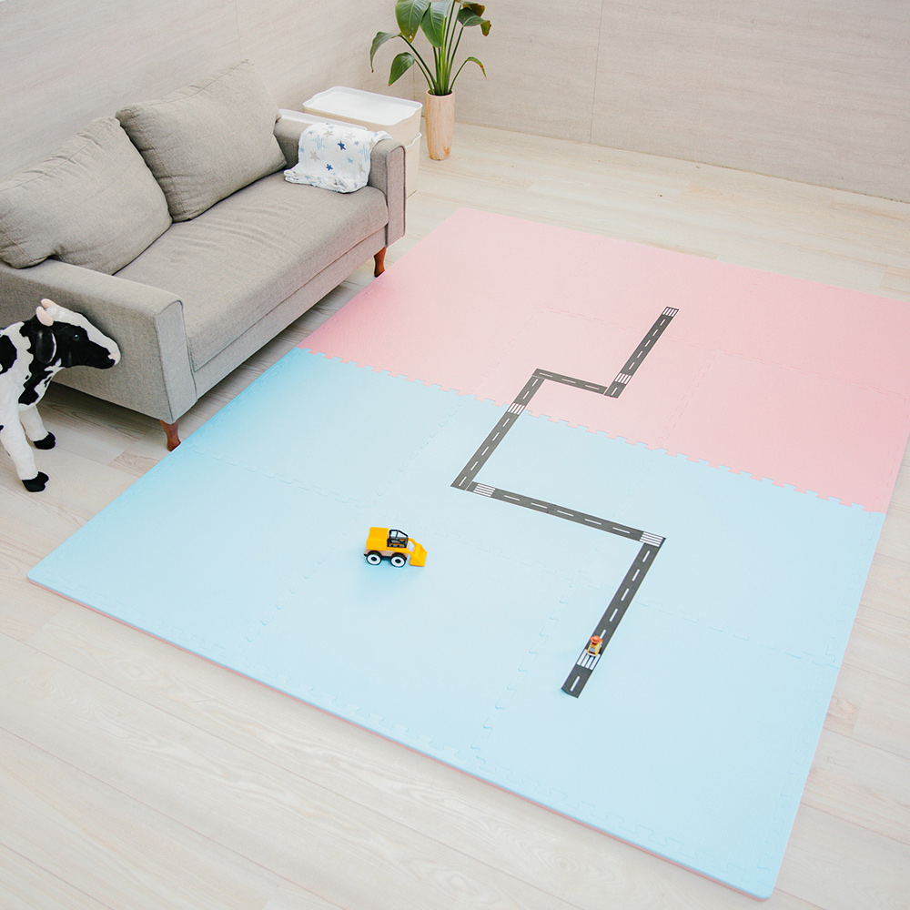 PatoPato 嬰幼兒專用馬卡龍60x60x2cm雙色地墊 - 粉紅&粉藍 - 1包6片裝