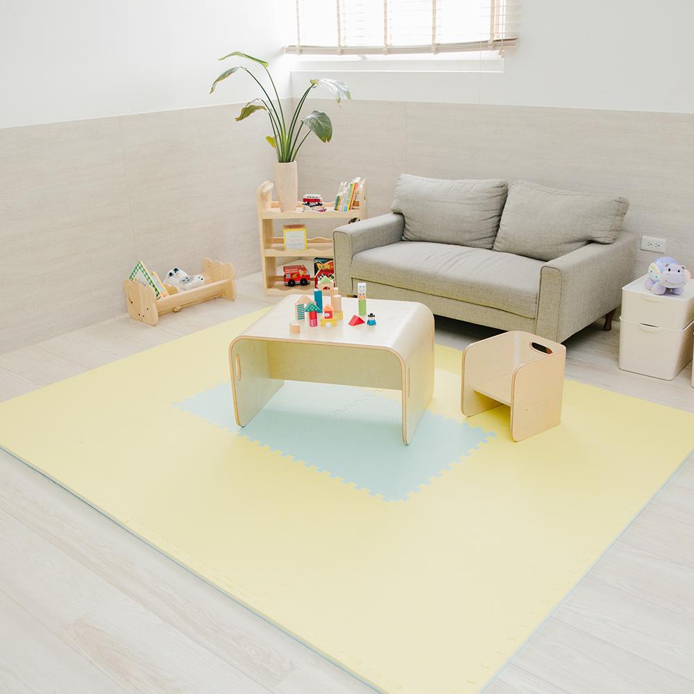 PatoPato 嬰幼兒專用馬卡龍60x60x2cm雙色地墊 - 黃&淺綠 - 1包6片裝