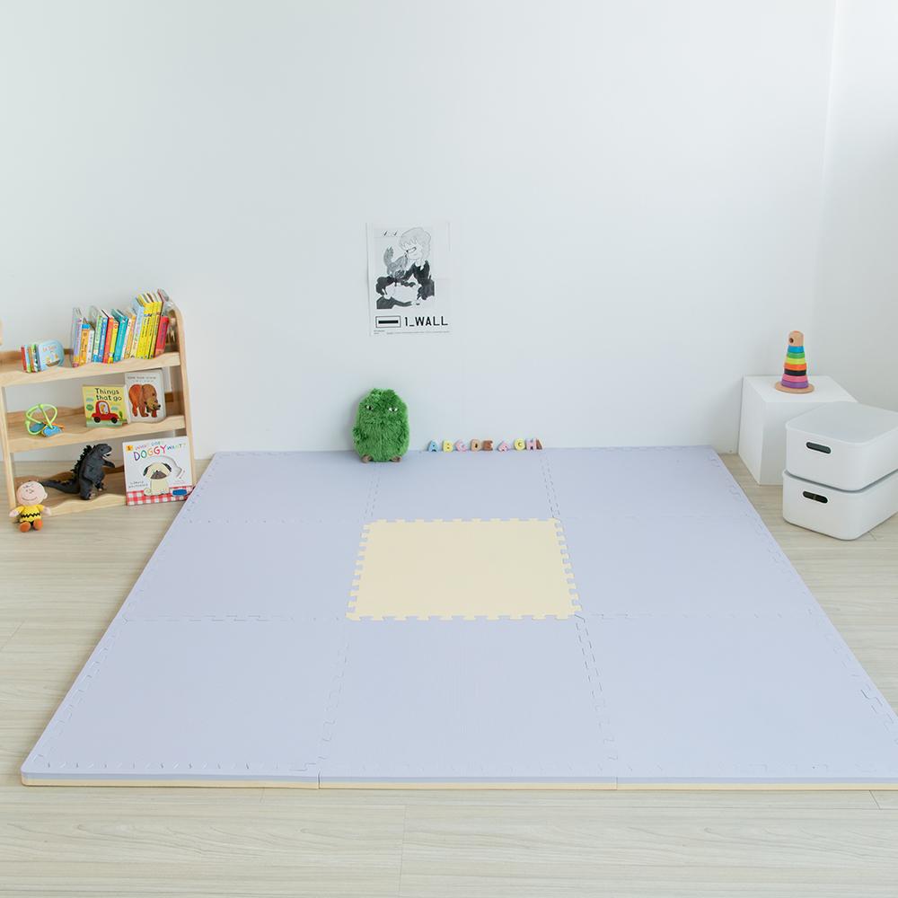 PatoPato|嬰幼兒專用馬卡龍60x60x3cm雙色地墊 - 鵝黃&紫 - 1包4片裝
