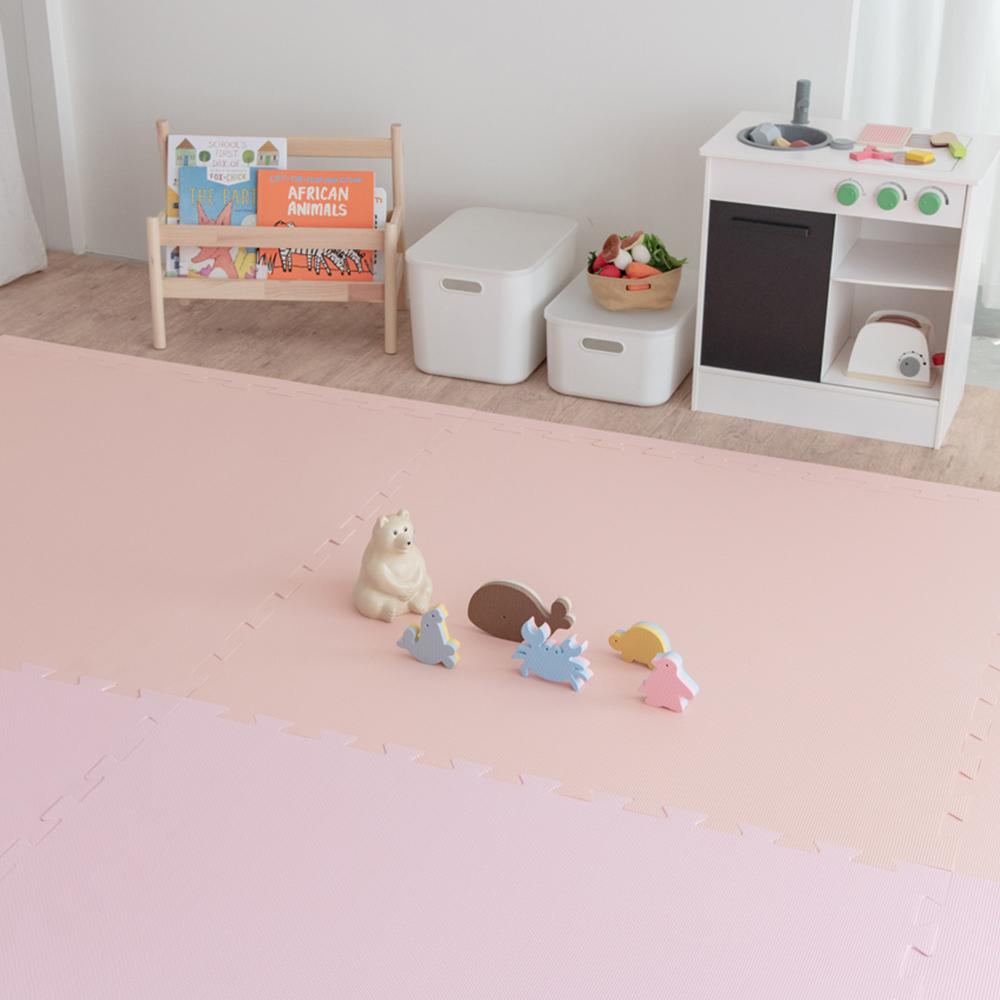 PatoPato|嬰幼兒專用馬卡龍60x60x3cm雙色地墊 - 粉&粉橘 - 1包4片裝