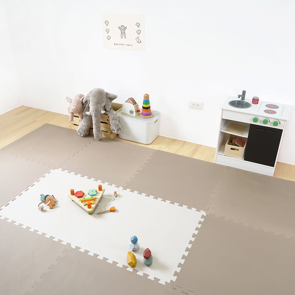 PatoPato|嬰幼兒專用馬卡龍60x60x3cm雙色地墊 - 奶油&摩卡 - 1包4片裝