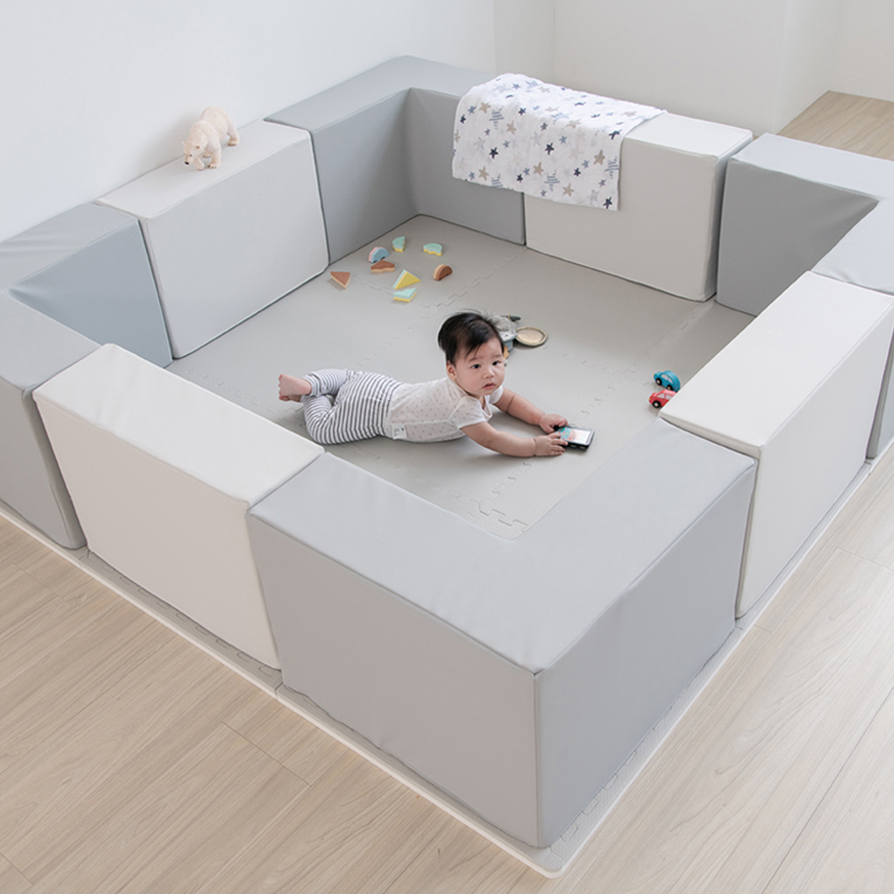 PatoPato Hipopo方塊遊樂圍欄 - 120x180x40cm - 6入組(灰+白色)