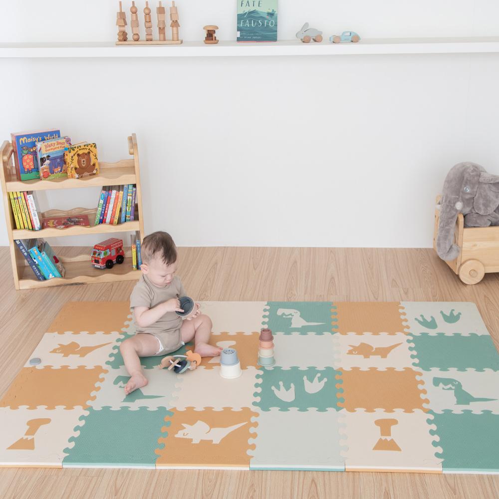 PatoPato|嬰幼兒專用巧拼地墊 - 叢林恐龍30*30*2cm - 1包16片附24條邊條