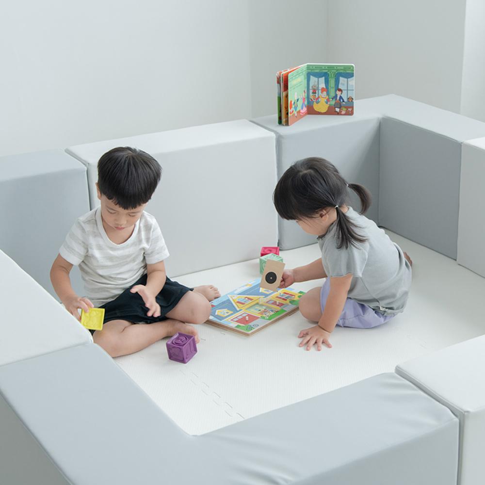 PatoPato|Hipopo方塊遊樂圍欄 - 180x180x40cm - 8入組(灰+白色)