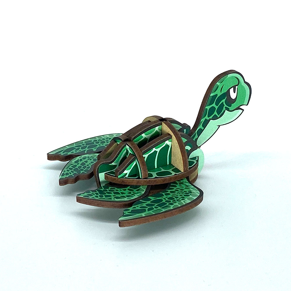 Fuumas 立體可動木質拼圖-綠蠵龜