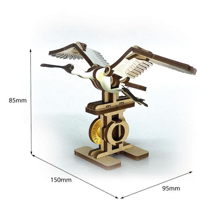 Fuumas 立體可動木質拼圖-黑面琵鷺