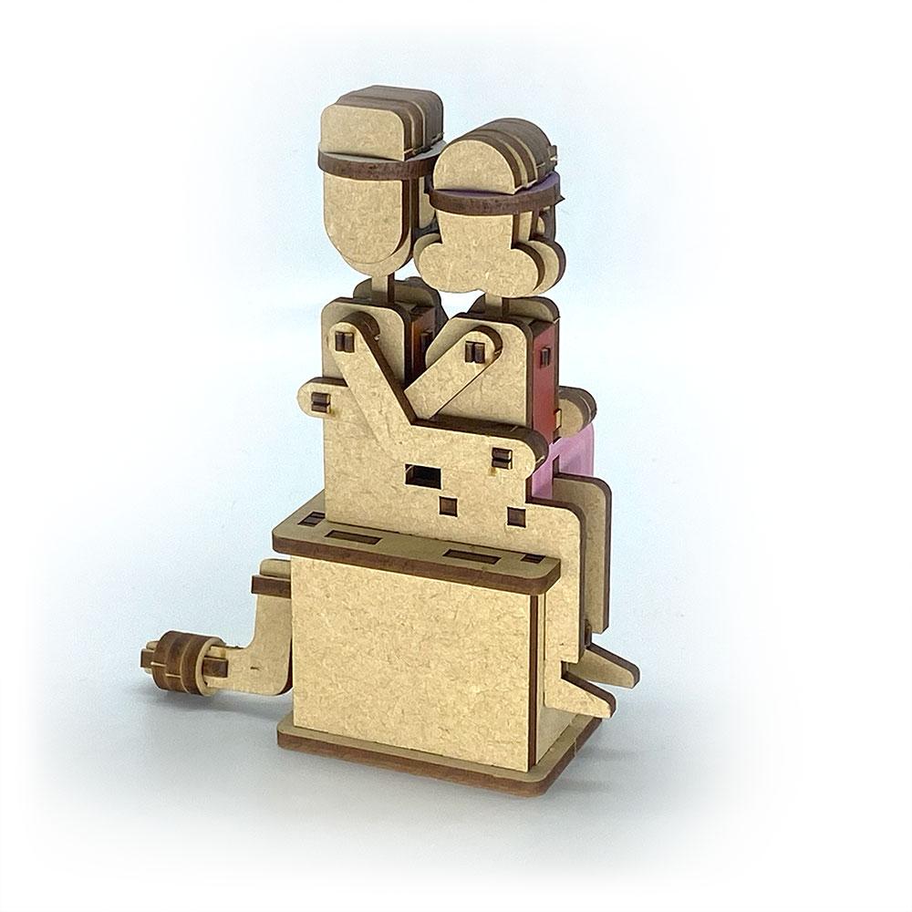 Fuumas 立體可動木質拼圖-十分天燈親熱情侶