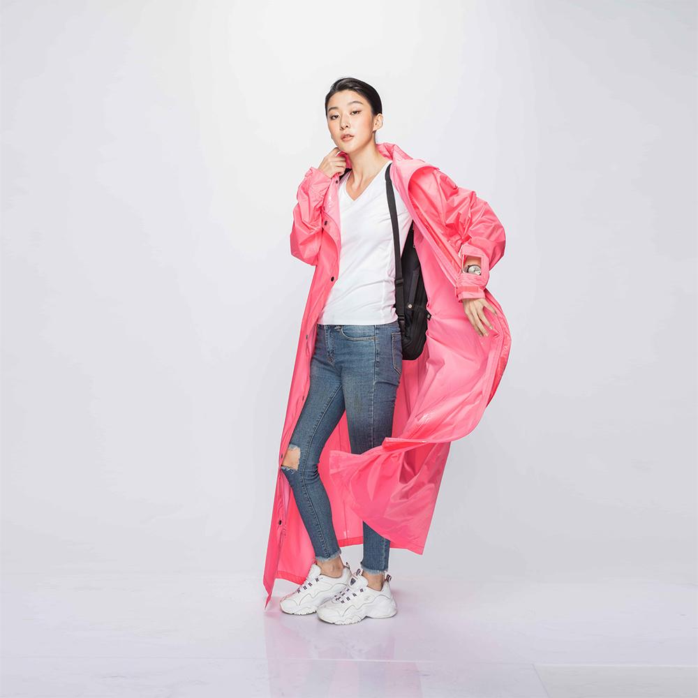 MORR|超防水-腹部不積水-Slashie 斜前開雨衣(蜜桃粉)