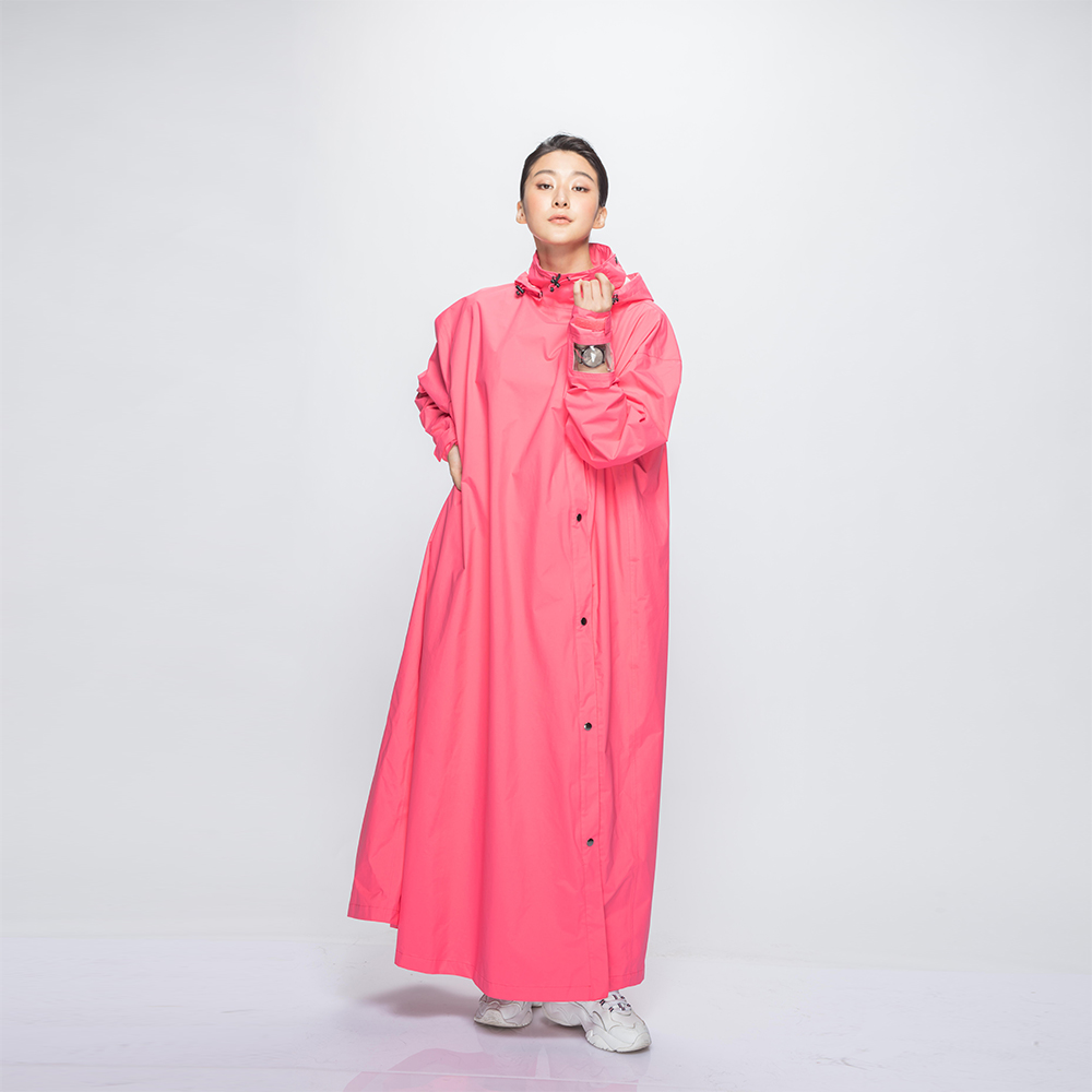 MORR 超透氣-腹部不積水-Slashie 斜前開雨衣(蜜桃粉)
