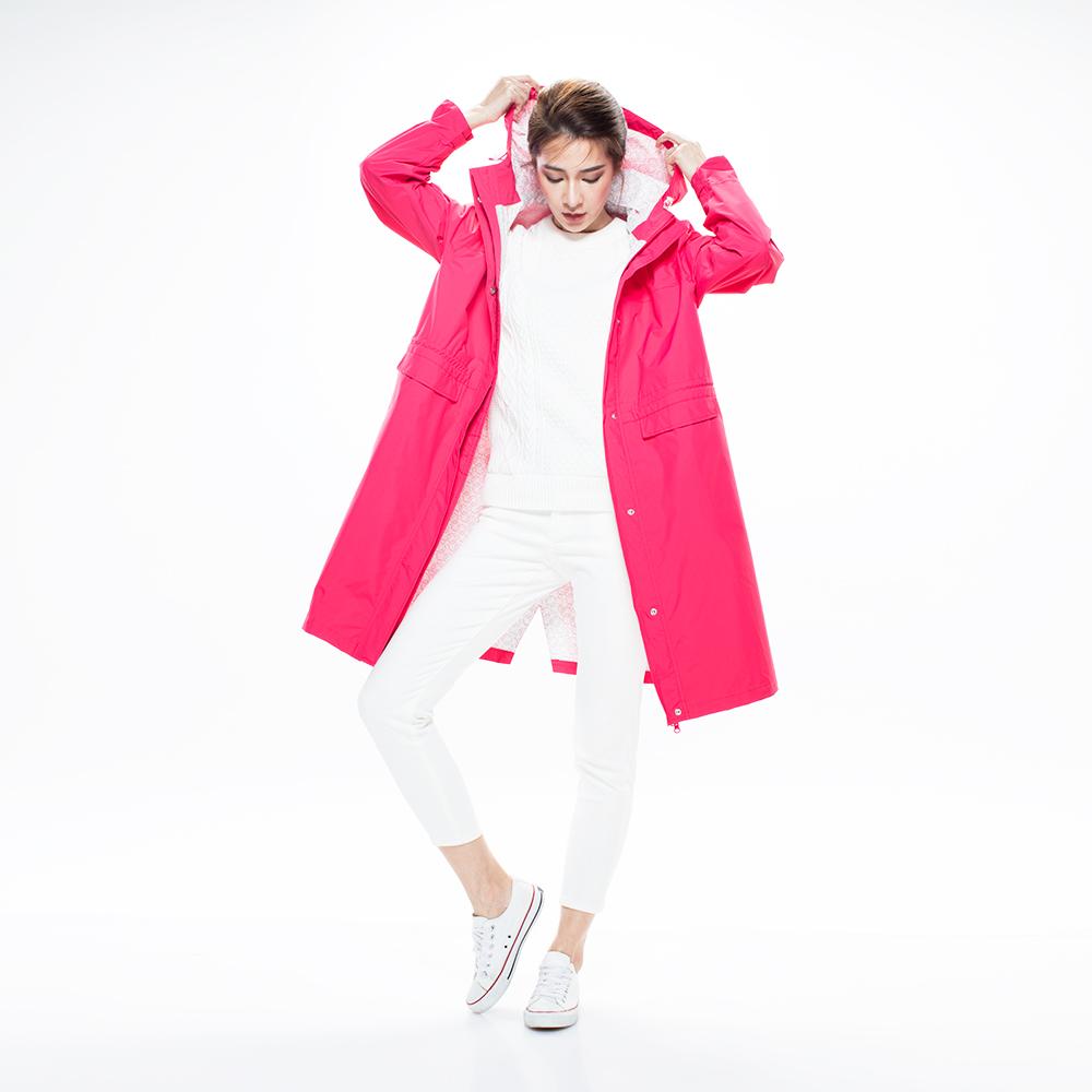 MORR|Rainster 女款抽繩防水風衣外套(炫藜紅)