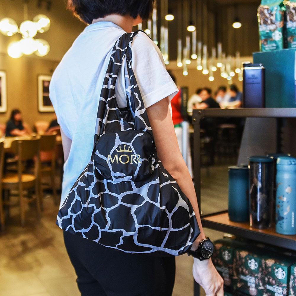 MORR|動物派對-防撥水收納購物袋(石紋黑)