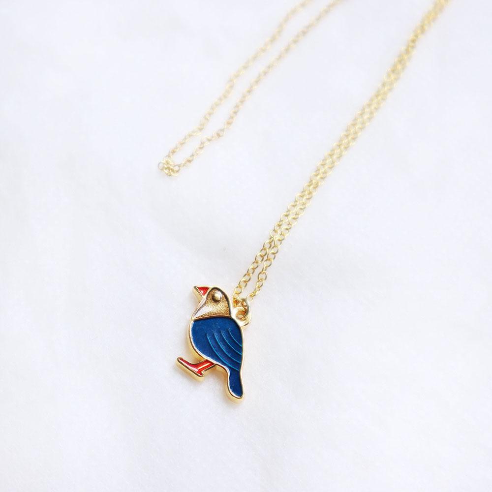 雅治設計|卡片項鍊-入色款-台灣藍鵲