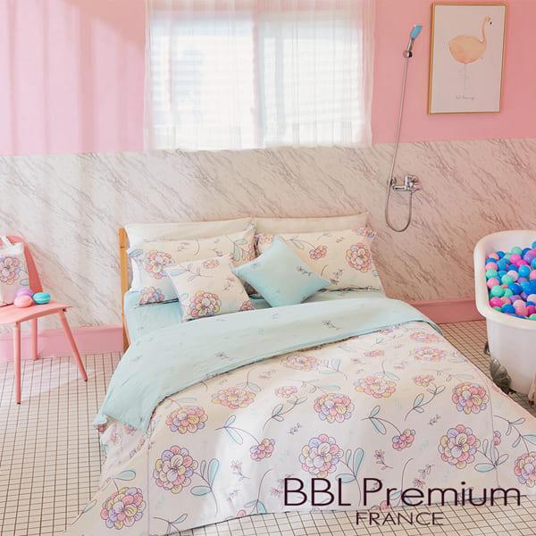 BBL Premium 【咕咕花落米】100%棉.印花兩用被床包組(雙人)