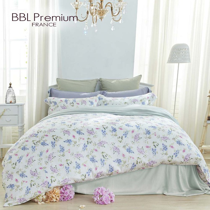 BBL Premium 100%天絲印花兩用被床包組-紫藤精靈(特大)