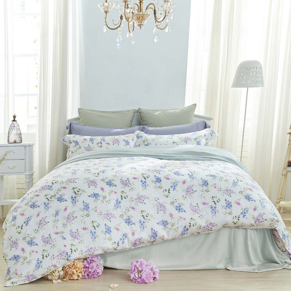 BBL Premium|100%天絲印花兩用被床包組-紫藤精靈(雙人)
